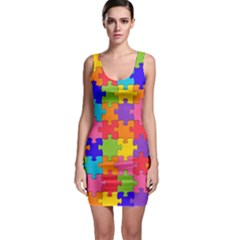 Funny Colorful Jigsaw Puzzle Sleeveless Bodycon Dress