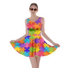 Funny Colorful Jigsaw Puzzle Skater Dress