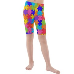 Funny Colorful Jigsaw Puzzle Kid s Mid Length Swim Shorts