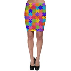 Funny Colorful Jigsaw Puzzle Bodycon Skirts