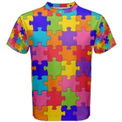 Funny Colorful Jigsaw Puzzle Men s Cotton Tee