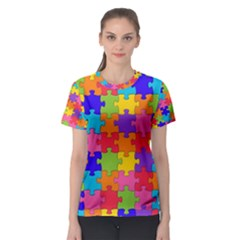 Funny Colorful Jigsaw Puzzle Women s Sport Mesh Tee
