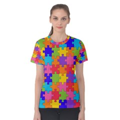 Funny Colorful Jigsaw Puzzle Women s Cotton Tee