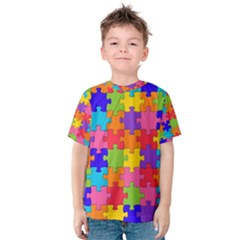 Funny Colorful Jigsaw Puzzle Kid s Cotton Tee