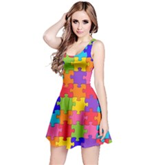 Funny Colorful Jigsaw Puzzle Reversible Sleeveless Dress
