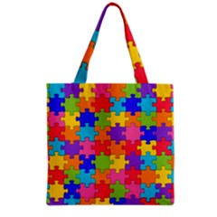 Funny Colorful Jigsaw Puzzle Grocery Tote Bag