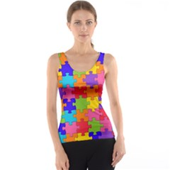 Funny Colorful Jigsaw Puzzle Tank Top