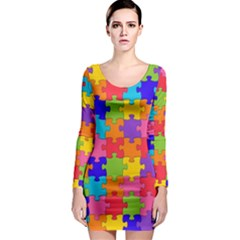 Funny Colorful Jigsaw Puzzle Long Sleeve Bodycon Dress
