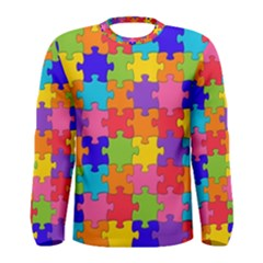 Funny Colorful Jigsaw Puzzle Men s Long Sleeve Tee