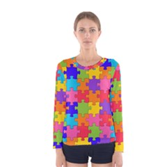 Funny Colorful Jigsaw Puzzle Women s Long Sleeve Tee