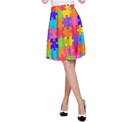 Funny Colorful Jigsaw Puzzle A Line Skirt