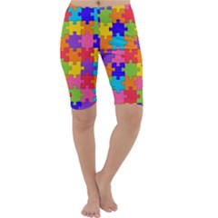 Funny Colorful Jigsaw Puzzle Cropped Leggings