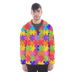 Funny Colorful Jigsaw Puzzle Hooded Wind Breaker (men)
