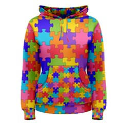 Funny Colorful Jigsaw Puzzle Women s Pullover Hoodie