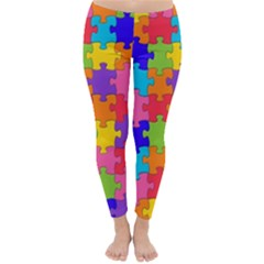 Funny Colorful Jigsaw Puzzle Winter Leggings