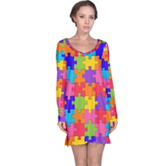 Funny Colorful Jigsaw Puzzle Long Sleeve Nightdress