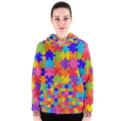 Funny Colorful Jigsaw Puzzle Women s Zipper Hoodie