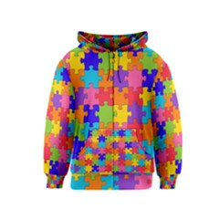 Funny Colorful Jigsaw Puzzle Kids  Zipper Hoodie