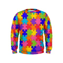 Funny Colorful Jigsaw Puzzle Kids  Sweatshirt