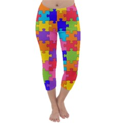 Funny Colorful Jigsaw Puzzle Capri Winter Leggings