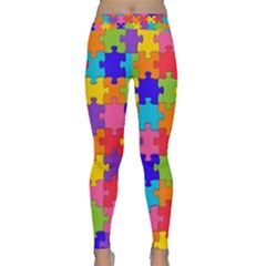 Funny Colorful Jigsaw Puzzle Yoga Leggings