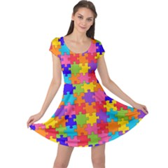 Funny Colorful Jigsaw Puzzle Cap Sleeve Dresses