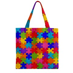 Funny Colorful Jigsaw Puzzle Zipper Grocery Tote Bag