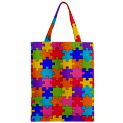 Funny Colorful Jigsaw Puzzle Zipper Classic Tote Bag