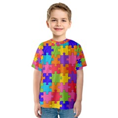 Funny Colorful Jigsaw Puzzle Kid s Sport Mesh Tee