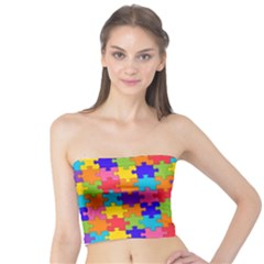 Funny Colorful Jigsaw Puzzle Tube Top