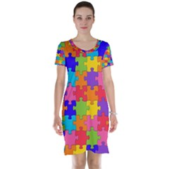 Funny Colorful Jigsaw Puzzle Short Sleeve Nightdress