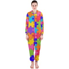 Funny Colorful Jigsaw Puzzle Hooded Jumpsuit (ladies)