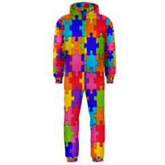 Funny Colorful Jigsaw Puzzle Hooded Jumpsuit (men)