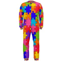 Funny Colorful Jigsaw Puzzle Onepiece Jumpsuit (men)