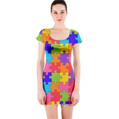 Funny Colorful Jigsaw Puzzle Short Sleeve Bodycon Dress