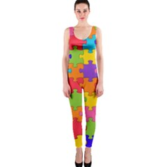 Funny Colorful Jigsaw Puzzle Onepiece Catsuit