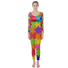 Funny Colorful Jigsaw Puzzle Long Sleeve Catsuit