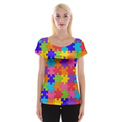 Funny Colorful Jigsaw Puzzle Women s Cap Sleeve Top