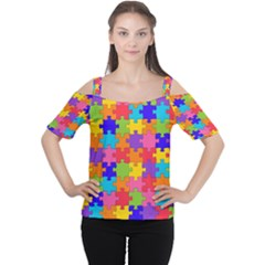 Funny Colorful Jigsaw Puzzle Women s Cutout Shoulder Tee
