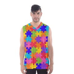 Funny Colorful Jigsaw Puzzle Men s Basketball Tank Top