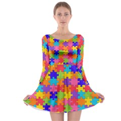 Funny Colorful Jigsaw Puzzle Long Sleeve Skater Dress