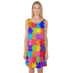 Funny Colorful Jigsaw Puzzle Sleeveless Satin Nightdress