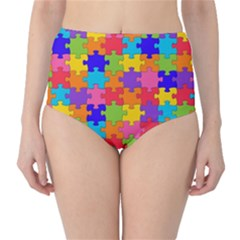 Funny Colorful Jigsaw Puzzle High Waist Bikini Bottoms