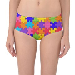 Funny Colorful Jigsaw Puzzle Mid Waist Bikini Bottoms