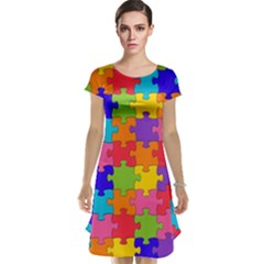 Funny Colorful Jigsaw Puzzle Cap Sleeve Nightdress