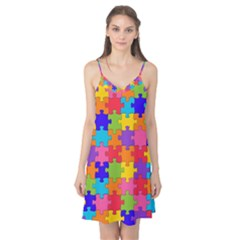 Funny Colorful Jigsaw Puzzle Camis Nightgown