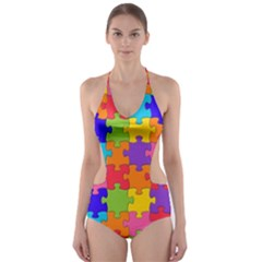 Funny Colorful Jigsaw Puzzle Cut-Out One Piece Swimsuit