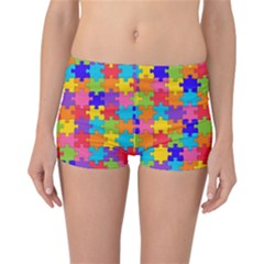 Funny Colorful Jigsaw Puzzle Reversible Boyleg Bikini Bottoms