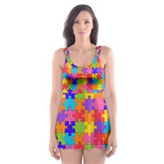 Funny Colorful Jigsaw Puzzle Skater Dress Swimsuit