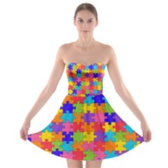 Funny Colorful Jigsaw Puzzle Strapless Dresses